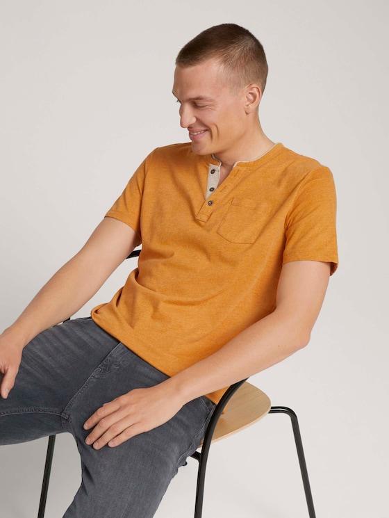 henley T-shirt met borstzak - Mannen - yellow white base melange - 5 - TOM TAILOR