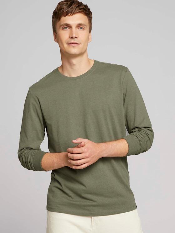 Langarmshirt mit Bio-Baumwolle - Männer - Light Oak Leaf Melange - 5 - TOM TAILOR