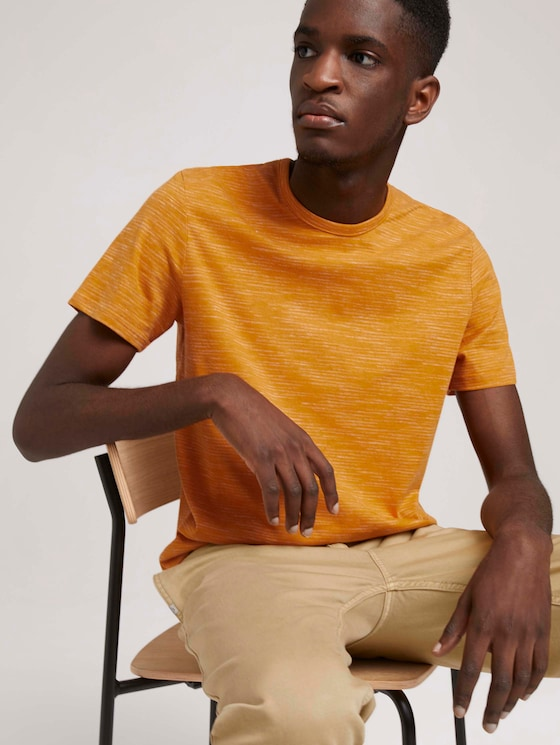 fijn gestreept T-shirt - Mannen - flame brown injected stripe - 5 - TOM TAILOR