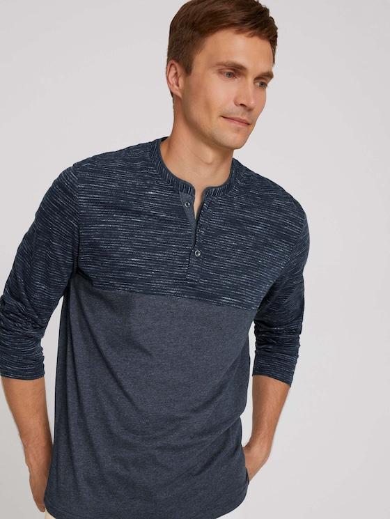Long-sleeved shirt with fine stripes - Men - sky captain blue white melange - 5 - TOM TAILOR