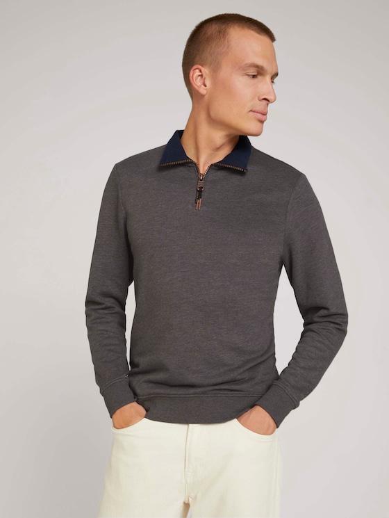 Sweatshirt with a troyer collar - Men - Cyber Grey Melange - 5 - TOM TAILOR