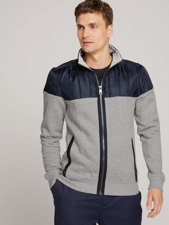 Jacket with a stand-up collar - Men - Middle Grey Melange - 5 - TOM TAILOR