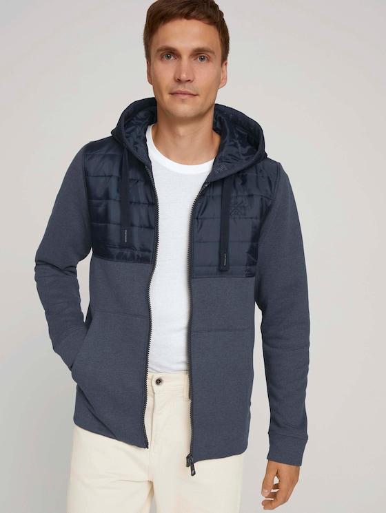Sweat jacket with a hood - Men - sky captain blue white melange - 5 - TOM TAILOR