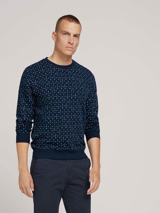 sweatshirt met patroon - Mannen - sky navy corn design - 5 - TOM TAILOR