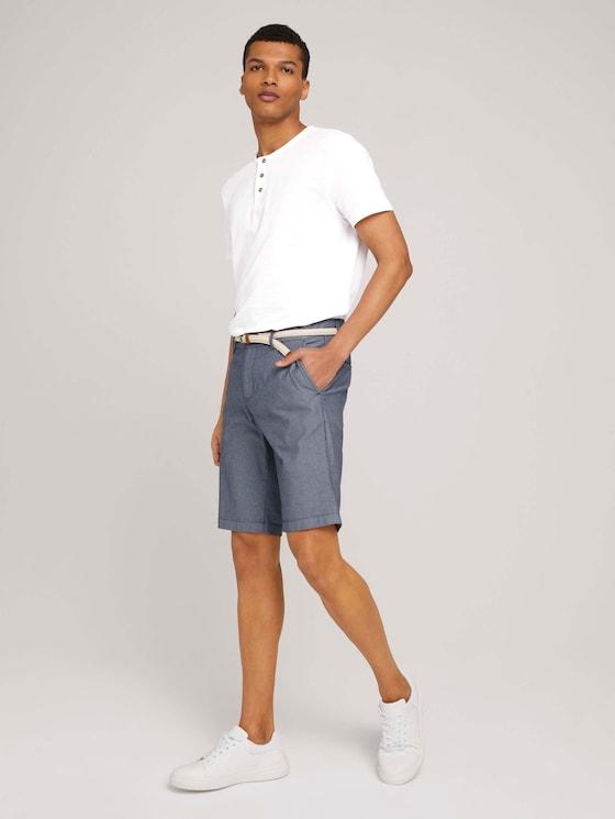 Chino Slim Shorts - Männer - navy white dobby structure - 3 - TOM TAILOR Denim