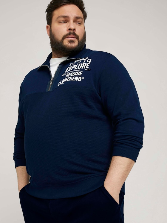 Sweatshirt mit Troyer-Kragen - Männer - Dark Blue - 5 - Men Plus