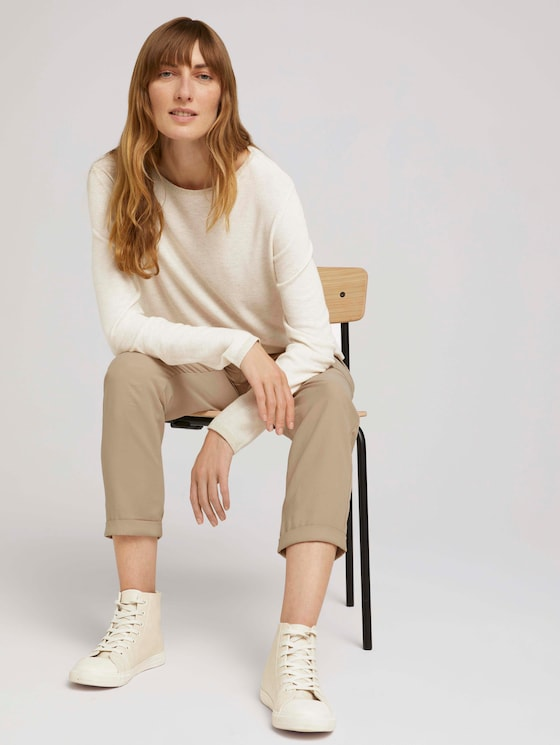 Knitted sweater with glitter details - Women - smooth light sand melange - 5 - TOM TAILOR