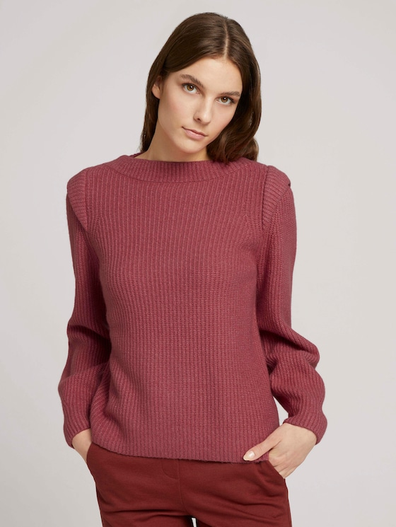 Sweater with shoulder pads - Women - cozy pink - 5 - TOM TAILOR