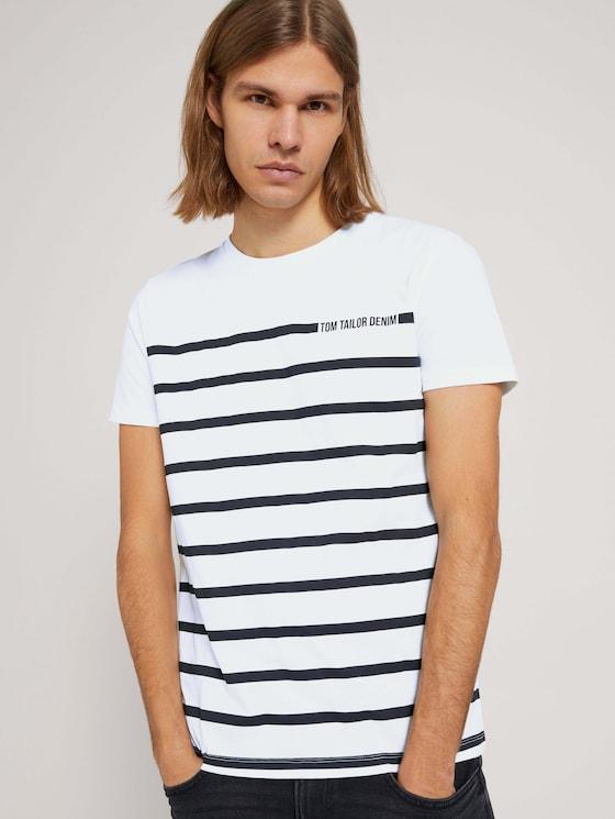 gestreiftes T-Shirt - Männer - White - 5 - TOM TAILOR Denim