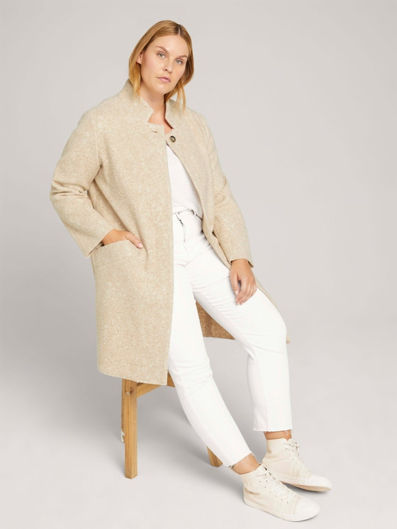 Curvy - boucle coat - Women - powder beige melange - 5 - My True Me