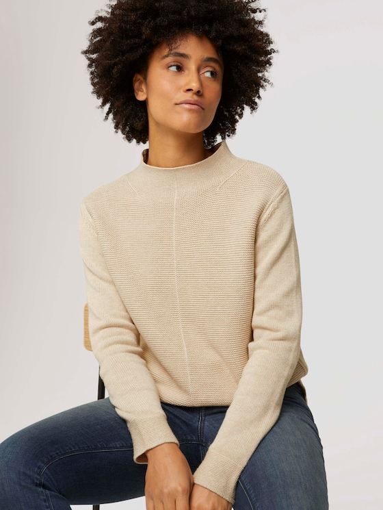 Textured sweater with organic cotton - Women - powder beige melange - 5 - TOM TAILOR