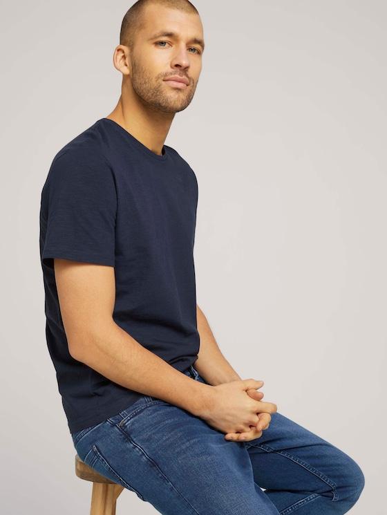 Basic T-Shirt - Männer - Knitted Navy - 5 - TOM TAILOR