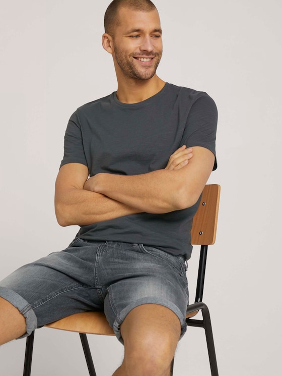 Basic T-Shirt - Männer - Tarmac Grey - 5 - TOM TAILOR