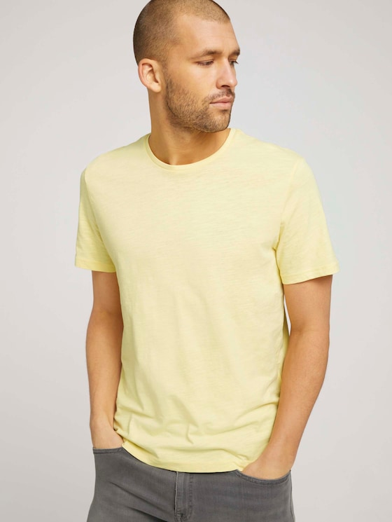 Basic T-Shirt mit Bio-Baumwolle - Männer - pale banana yellow - 5 - TOM TAILOR