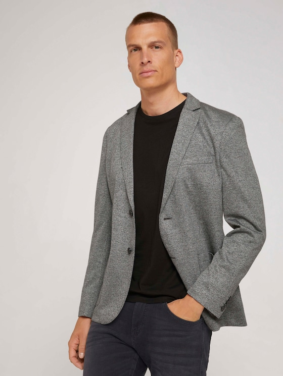 Jersey blazer - Men - grey melange pique structure - 5 - TOM TAILOR