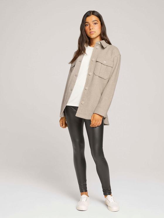 leggings in a leather look - Women - deep black - 3 - TOM TAILOR Denim