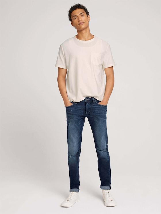 Slim Piers Jeans mit Bio-Baumwolle - Männer - Used Dark Stone Blue Denim - 3 - TOM TAILOR Denim