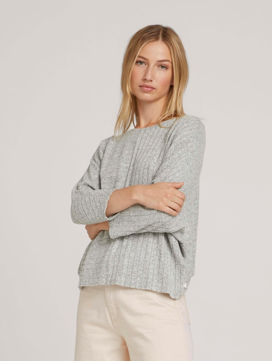 Sweater with batwing sleeves - Women - Light Silver Grey Mélange - 5 - TOM TAILOR Denim