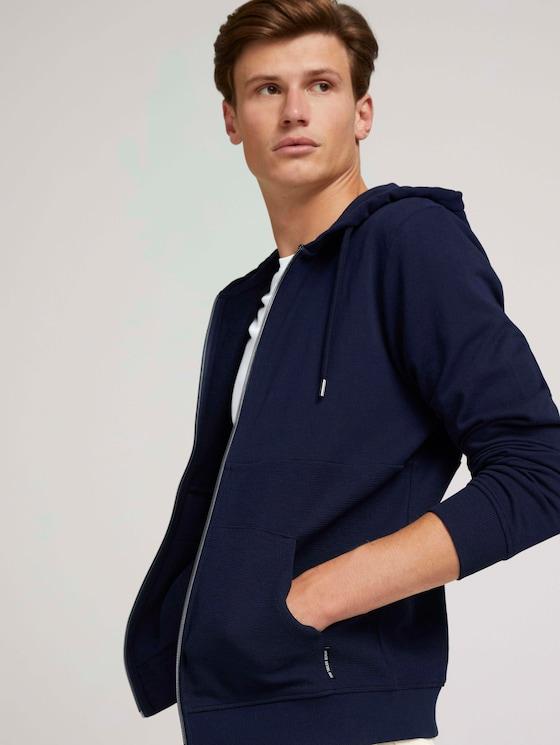 textured hoodie - Men - Sky Captain Blue - 5 - TOM TAILOR Denim