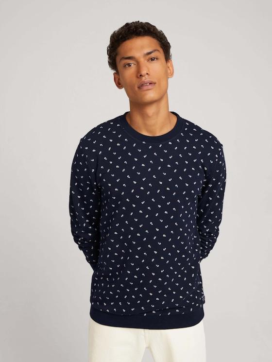 patterned sweatshirt - Men - navy leaf print - 5 - TOM TAILOR Denim