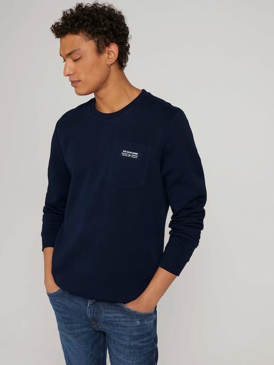 sweatshirt met borstzak - Mannen - Sky Captain Blue - 5 - TOM TAILOR Denim