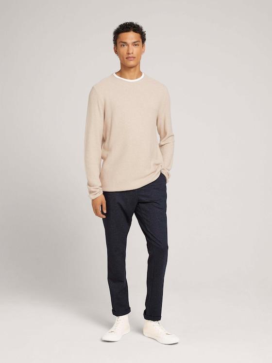 slim chino trousers - Men - blue grey zig zag structure - 3 - TOM TAILOR Denim