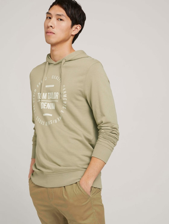 hoodie with a print - Men - Silver Olive - 5 - TOM TAILOR Denim