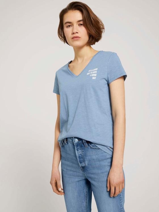 T-Shirt mit V-Ausschnitt - Frauen - soft mid blue - 5 - TOM TAILOR Denim