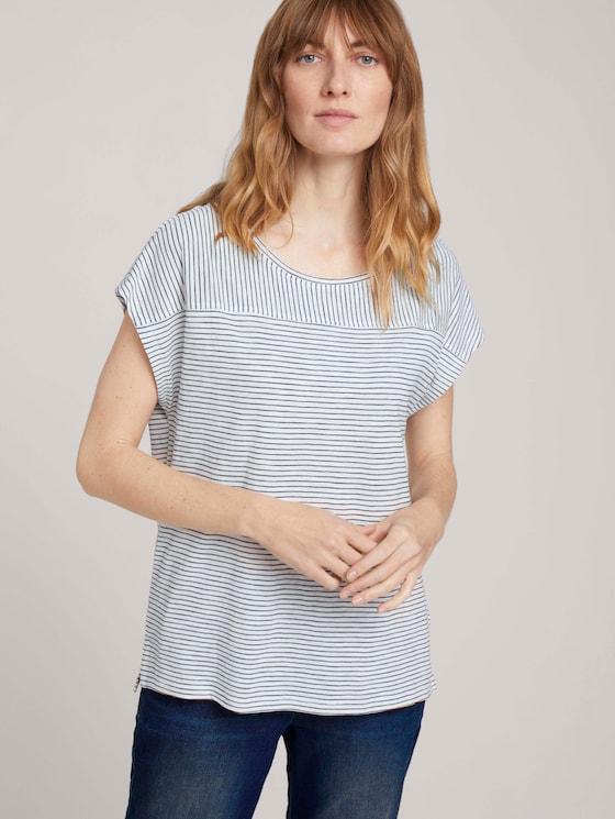 gestreiftes T-Shirt - Frauen - offwhite thin stripes - 5 - TOM TAILOR
