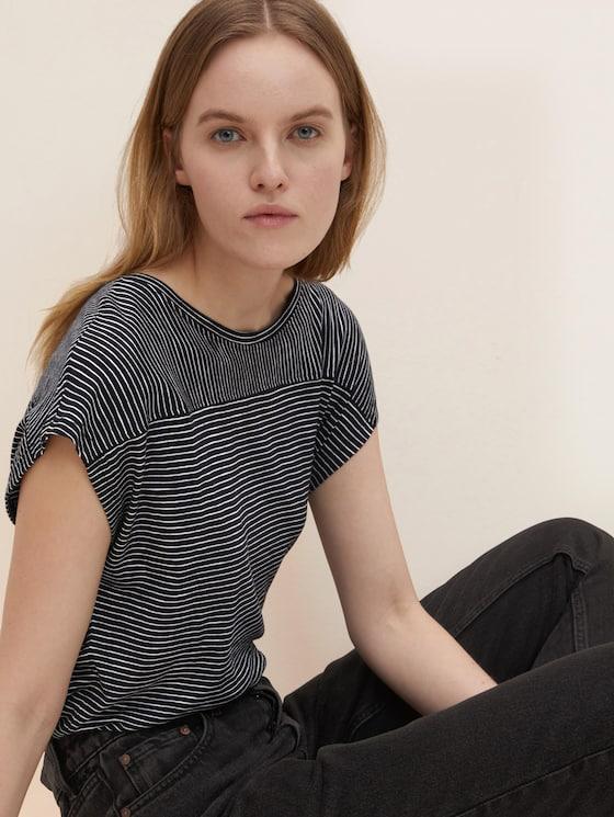 gestreiftes T-Shirt - Frauen - black thin stripes - 5 - TOM TAILOR