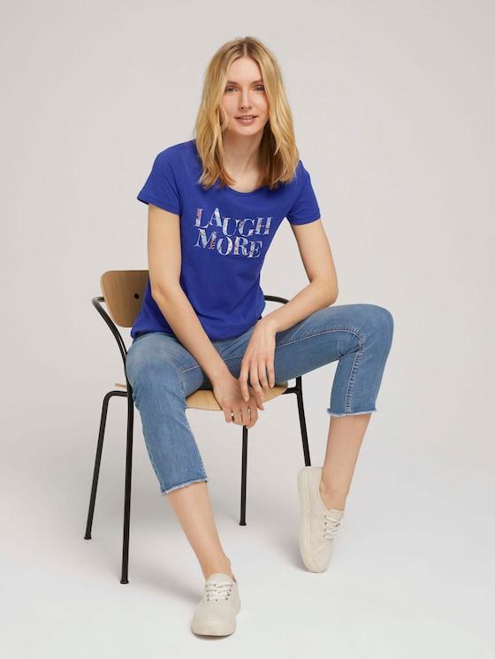T-shirt met belettering print van biologische katoen - Vrouwen - anemone-blue - 5 - TOM TAILOR
