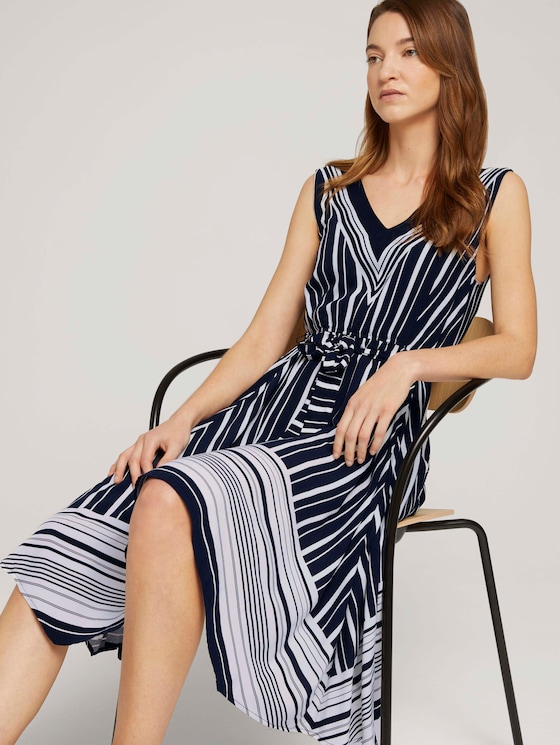 Gemustertes Tuchkleid mit Print - Frauen - navy white vertical stripe - 5 - TOM TAILOR