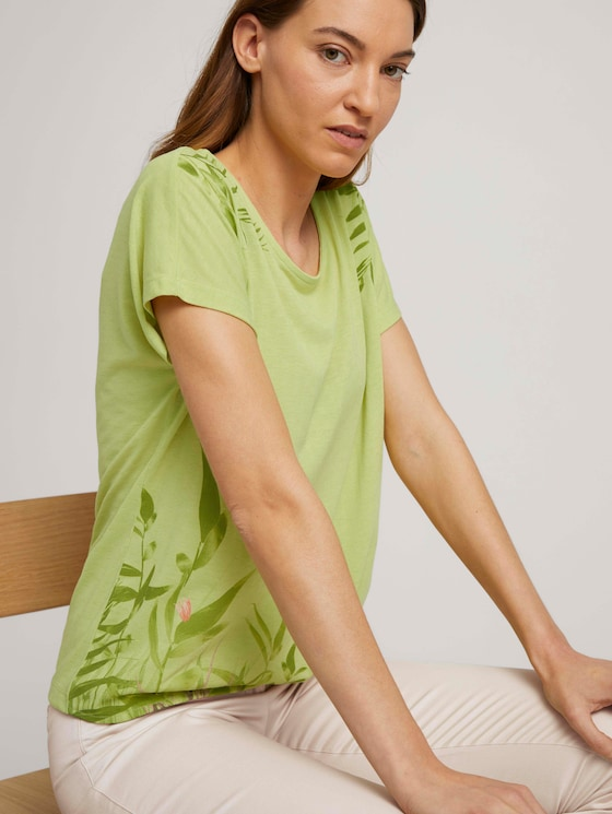 Print T-Shirt mit Knoten - Frauen - celery ice - 5 - TOM TAILOR