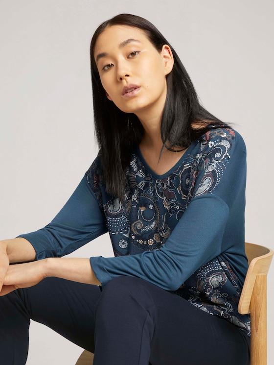 Shirt met patroon en LENZING™ ECOVERO™ - Vrouwen - blue apricot paisley design - 5 - TOM TAILOR