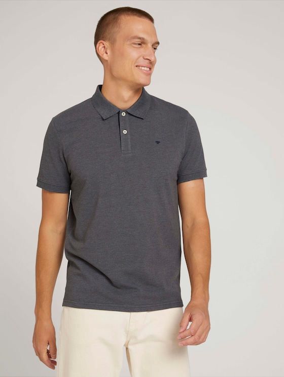 Polo shirt with an embroidered logo - Men - Anthracite Melange - 5 - TOM TAILOR