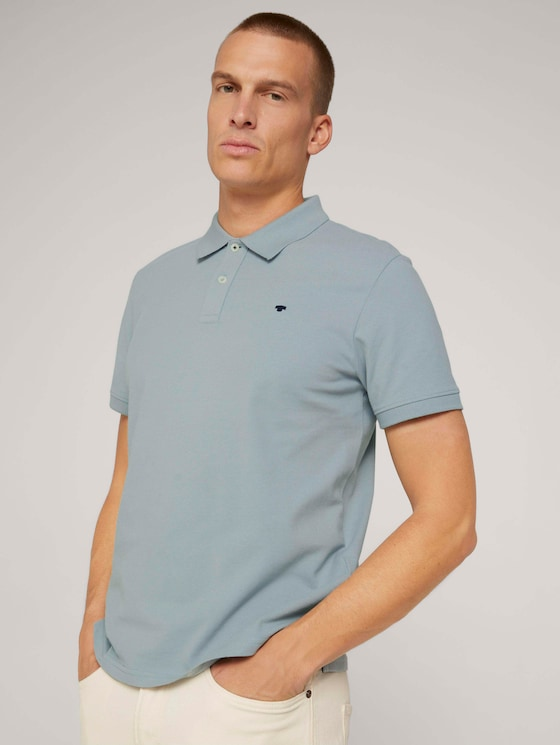 Poloshirt met geborduurd logo - Mannen - light ice blue - 5 - TOM TAILOR