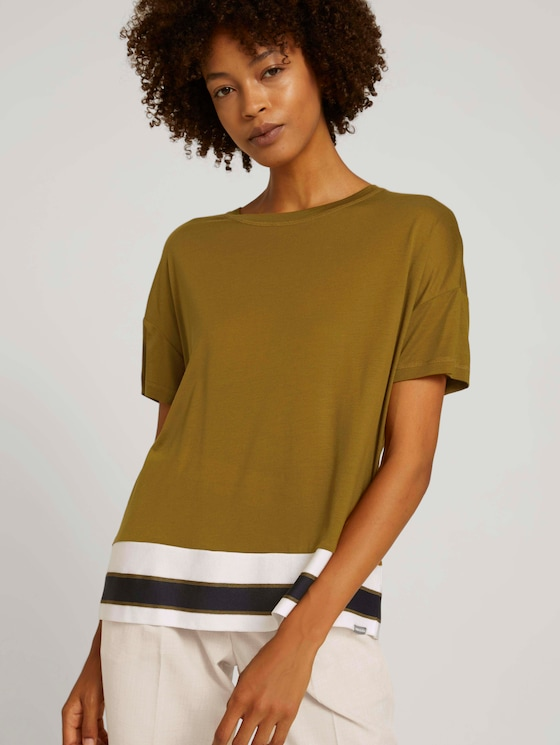 T-shirt van lyocell - Vrouwen - green clay - 5 - Mine to five