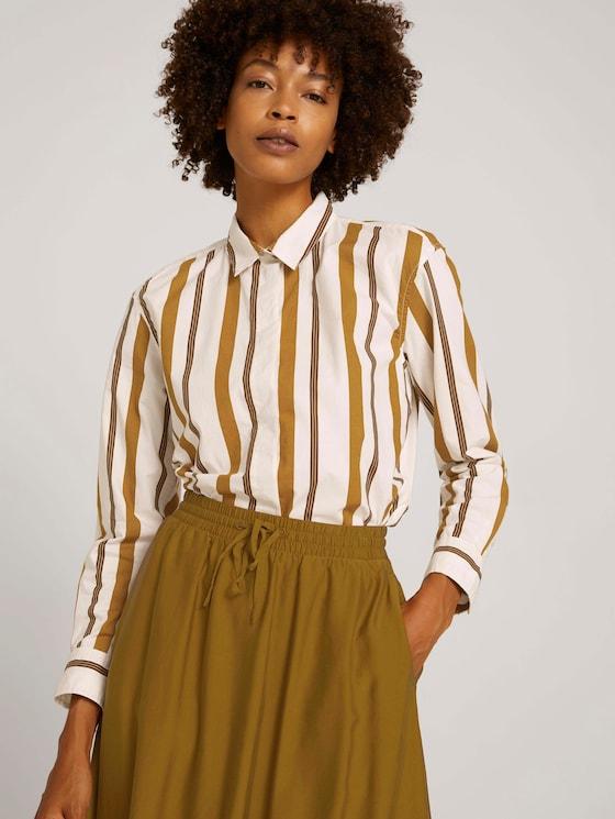 Striped shirt blouse - Women - green beige stripe - 5 - Mine to five
