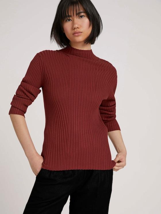 Ribbed turtleneck - Women - dark maroon red - 5 - TOM TAILOR