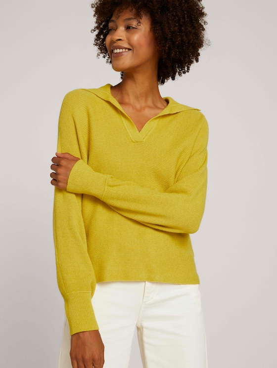 Sweater with collar details - Women - dusty lime - 5 - Mine to five