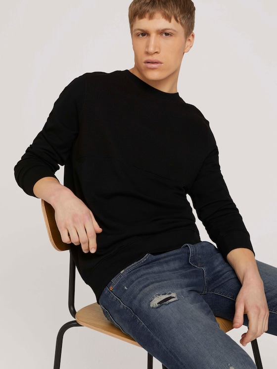 strukturiertes Sweatshirt - Männer - Black - 5 - TOM TAILOR Denim