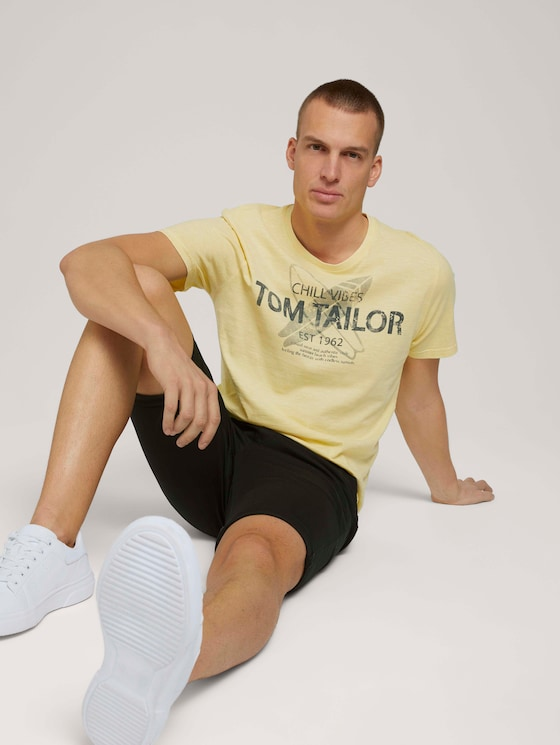 T-shirt with a print - Men - pale straw yellow - 5 - TOM TAILOR
