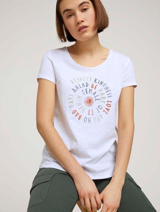 T-Shirt mit Schriftprint - Frauen - White - 5 - TOM TAILOR Denim