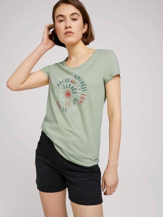T-Shirt mit Schriftprint - Frauen - light dusty green - 5 - TOM TAILOR Denim