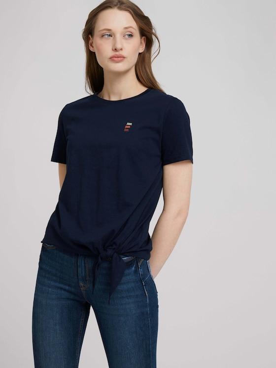 Loose Fit T-Shirt mit Knotendetail - Frauen - Real Navy Blue - 5 - TOM TAILOR Denim