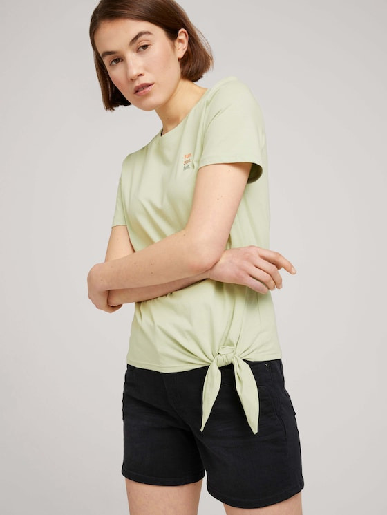 Loose Fit T-Shirt mit Knotendetail - Frauen - light dusty green - 5 - TOM TAILOR Denim