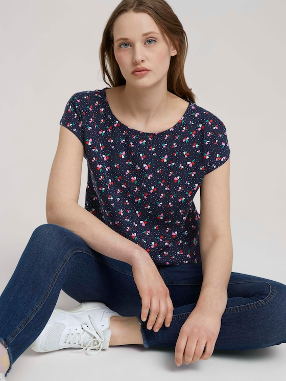 Gemusterte Kurzarmbluse - Frauen - navy flower print - 5 - TOM TAILOR Denim