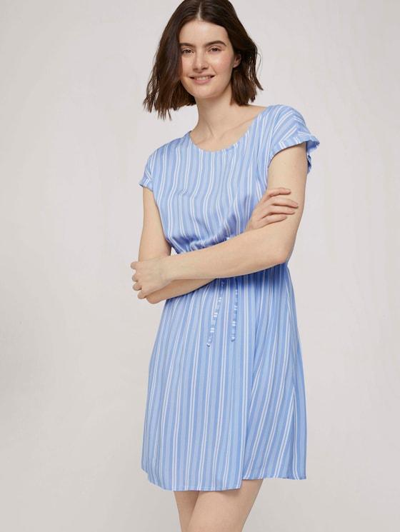 Gestreiftes Minikleid mit elastischem Bund - Frauen - light blue vertical stripe - 5 - TOM TAILOR Denim