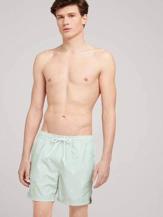 patterned swimming shorts - Men - mint white summer palm print - 5 - TOM TAILOR Denim