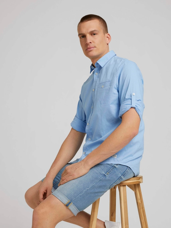 Hemd mit Brusttasche - Männer - Soft Charming Blue - 5 - TOM TAILOR